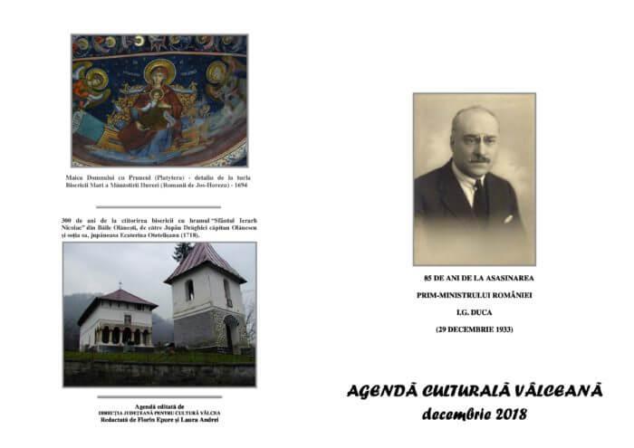 Agenda Culturala Valceana, decembrie 2018