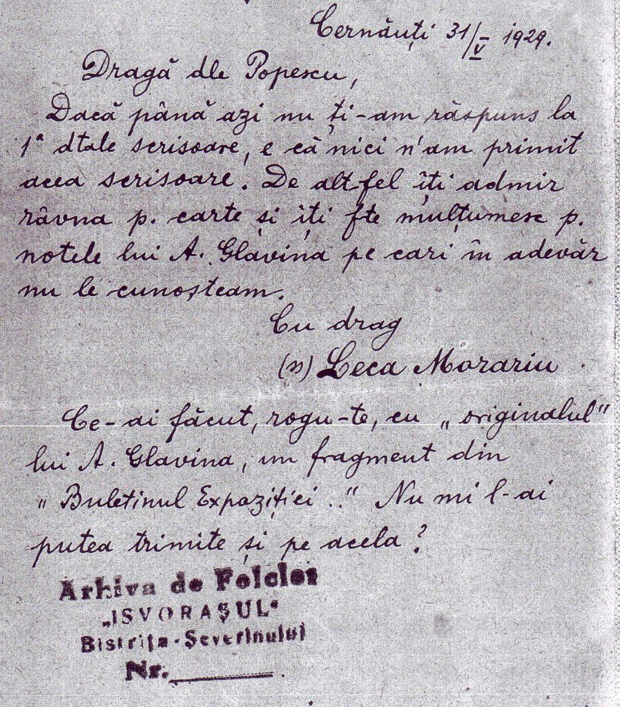 ion n. popescu scrisoarea lui leca morariu