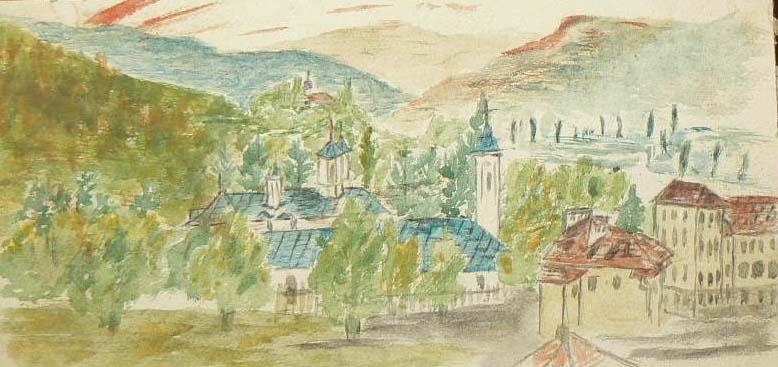 Modest Cichirdan pictor - acuarelă - Episcopia și Liceul Vasile Roaită - fostul Seminar