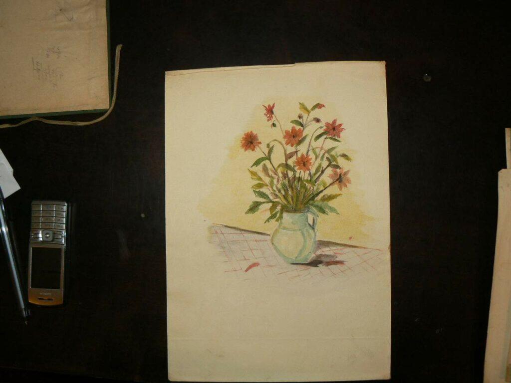 Modest Cichirdan - acuarela - Vas cu flori