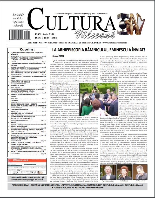 Cultura Valceana iulie 2021